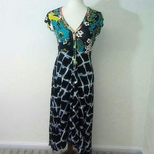 Weston Wear Floral Brushed Plaid Hi-Lo Maxi Dress